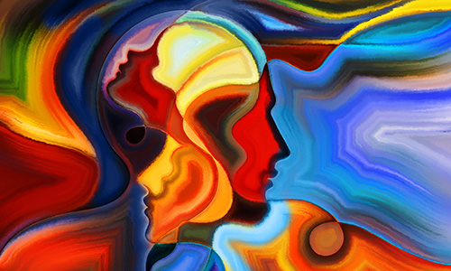 Colors of the Mind series. Abstract arrangement of elements of human face, and colorful abstract shapes suitable as background for projects on mind, reason, thought, emotion and spirituality